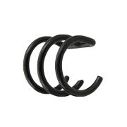 Fake Ear Cuff schwarz mit 3 Ringen
