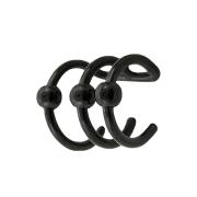 Fake Ear Cuff schwarz mit 3 Ringen und Kugel