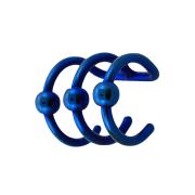 Fake Ear Cuff dunkelblau mit 3 Ringen und Kugel