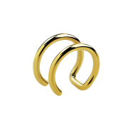 Fake Ear Cuff vergoldet mit 2 Ringen