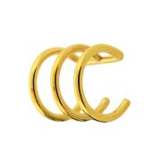 Fake Ear Cuff vergoldet mit 3 Ringen