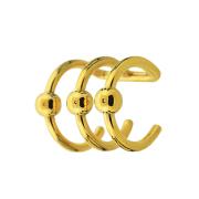 Fake Ear Cuff vergoldet mit 3 Ringen und Kugel