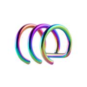 Fake Ear Cuff farbig mit 3 Ringen