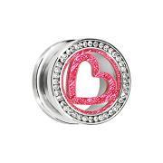Flesh Tunnel silber mit Kristall silber und pinkem Herz