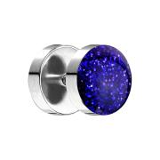 Fake Plug mit glitter Kuppel dunkelblau