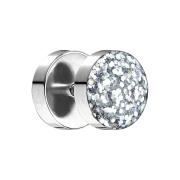 Fake Plug mit glitter Kuppel silber