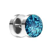Fake Plug mit glitter Kuppel aqua