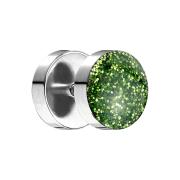 Fake Plug mit glitter Kuppel grün