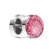 Fake Plug mit glitter Kuppel pink