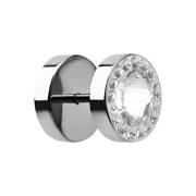 Fake Plug mit kleinen und grossem Swarovski Kristall silber