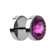 Fake Plug mit kleinen und grossem Swarovski Kristall fuchsia