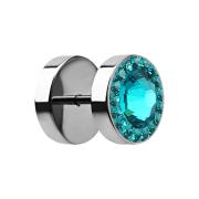 Fake Plug mit kleinen und grossem Swarovski Kristall türkis
