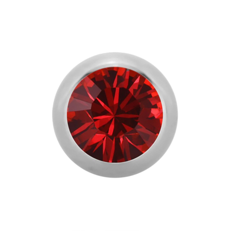 Micro Kugel Supernova High Polished mit Swarovski rot