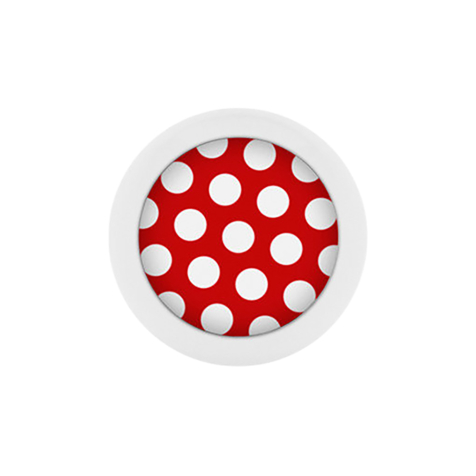 Micro Kugel Supernova Pure White mit Polka Dots rot/weiss