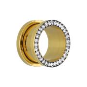 Flesh Tunnel vergoldet mit Kristall silber und Epoxy Schutzschicht