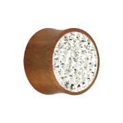 Flared Plug aus Sawoholz mit Kristall silber und Epoxy Schutzschicht