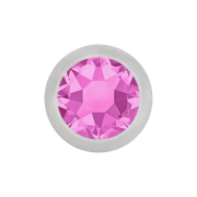 Micro Kugel silber mit Kristall pink