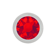 Micro Kugel silber mit Kristall rot