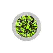 Micro Kugel silber mit Kristall hellgrün