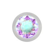 Micro Kugel silber mit Kristall multicolor