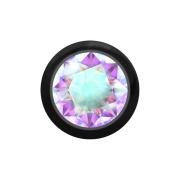 Micro Kugel schwarz mit Kristall multicolor