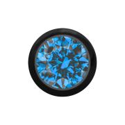 Micro Kugel schwarz mit Kristall hellblau