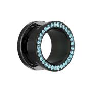 Flesh Tunnel schwarz mit Kristall aqua und Epoxy Schutzschicht
