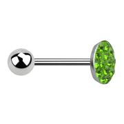 Barbell silber mit Kugel und Scheibe Kristall grün