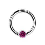 Micro Ball Closure Ring silber und Kristall fuchsia