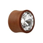 Flared Plug aus Sawo Holz mit Swarovski Kristall silber