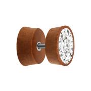 Fake Plug aus Sawo Holz mit Kristall silber und Epoxy Schutzschicht