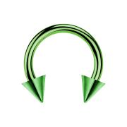 Circular Barbell grün mit zwei Cones