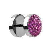 Fake Plug mit Kristall fuchsia
