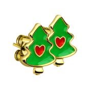 Ohrstecker Weihnachten Tannenbaum vergoldet