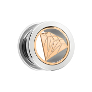 Flesh Tunnel silber mit rosegoldenem Diamant