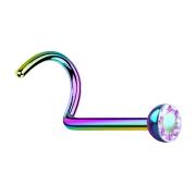 Nasenstecker gebogen farbig mit Kristall multicolor