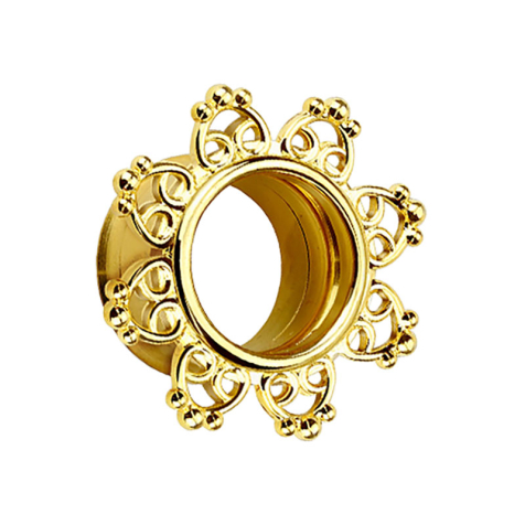 Flared Tunnel mit filigranen Tribal Herzen 14k vergoldet