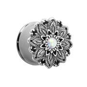 Flared Plug Lotusblume mit Opal Kugel