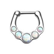 Septum mit fünf Opal Kugeln weiss