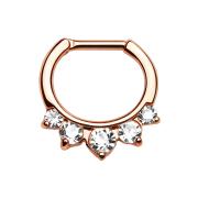 Septum mit fünf silbernen Kristalle rosegold