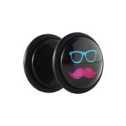 Fake Plug schwarz mit Schnurrbart und Brille