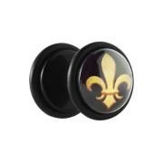 Fake Plug schwarz mit goldener Lilie