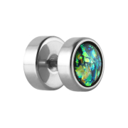 Fake Plug silber mit Opal Glitter grün