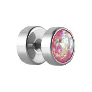 Fake Plug silber mit Opal Glitter pink