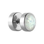 Fake Plug silber mit Opal Glitter weiss
