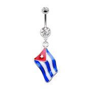 Banane silber mit Anhänger Flagge Kuba