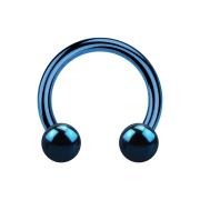 Circular Barbell dunkelblau mit zwei Kugeln