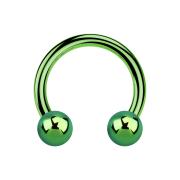 Circular Barbell grün mit zwei Kugeln