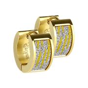 Ohrring zum Klappen vergoldet mit glitter und Zebramuster