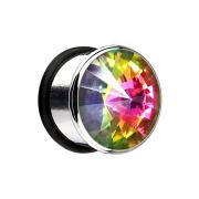 Flared Plug mit grossem Kristall farbig